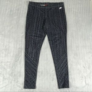 Nike Leggings / Running Tights Size Large Gray Patterned Stretchy Activewear